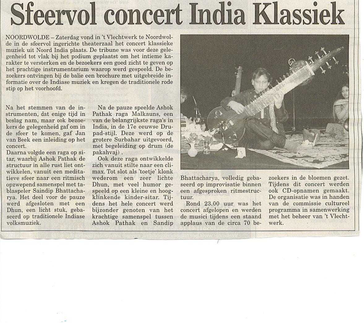recensie artikel concert india klassiek noordwolde  ashok pathak raga indiase volksmuziek